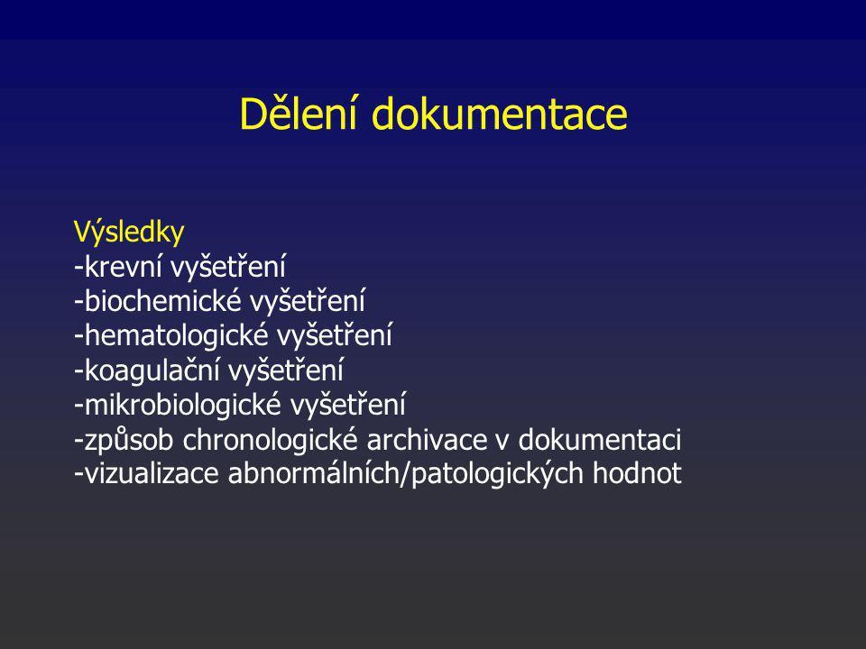 Dělení dokumentace Výsledky -krevní vyšetření -biochemické vyšetření -hematologické vyšetření -koagulační vyšetření -mikrobiologické vyšetření -způsob chronologické archivace v dokumentaci -vizualizace abnormálních/patologických hodnot
