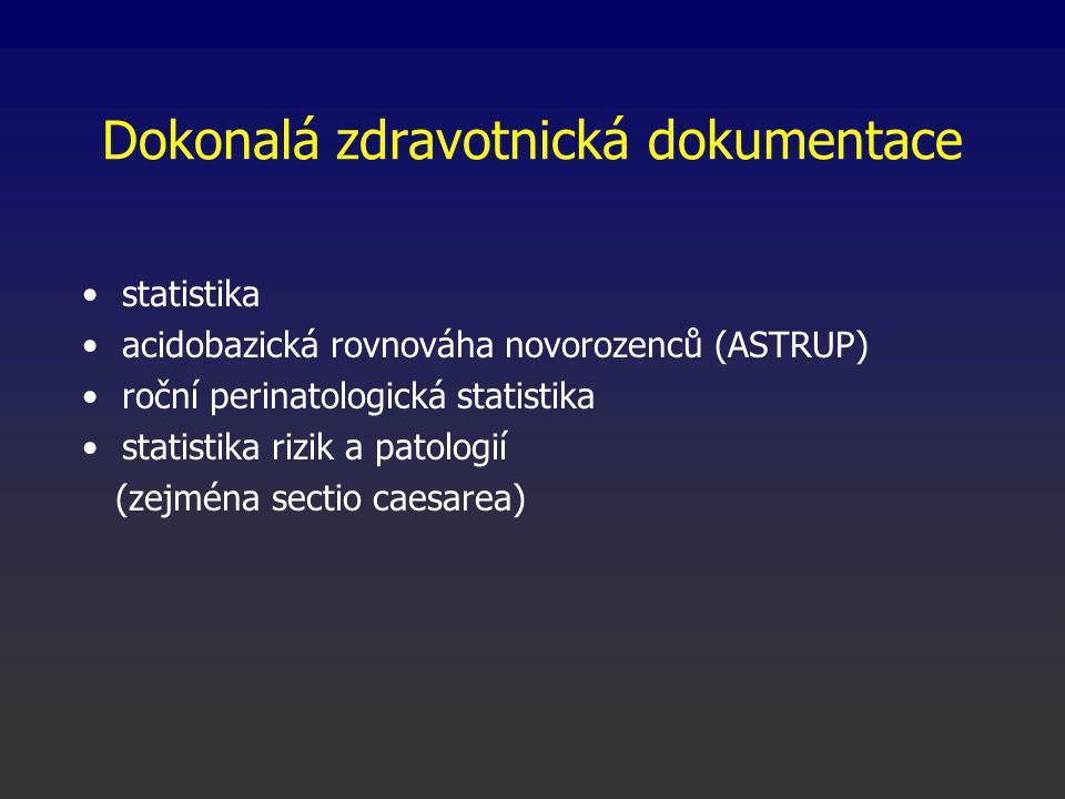 Dokonalá zdravotnická dokumentace statistika acidobazická rovnováha novorozenců (ASTRUP) roční perinatologická statistika statistika rizik a patologií (zejména sectio caesarea)
