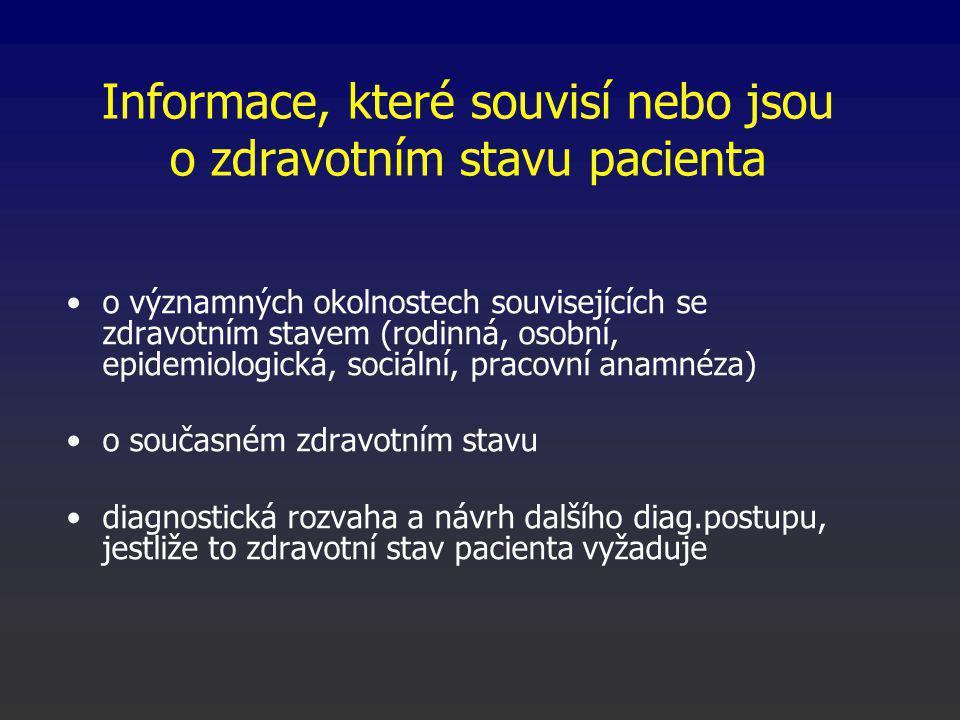Informace, které souvisí nebo jsou o zdravotním stavu pacienta o významných okolnostech souvisejících se zdravotním stavem (rodinná, osobní, epidemiologická, sociální, pracovní anamnéza) o současném zdravotním stavu diagnostická rozvaha a návrh dalšího diag.postupu, jestliže to zdravotní stav pacienta vyžaduje