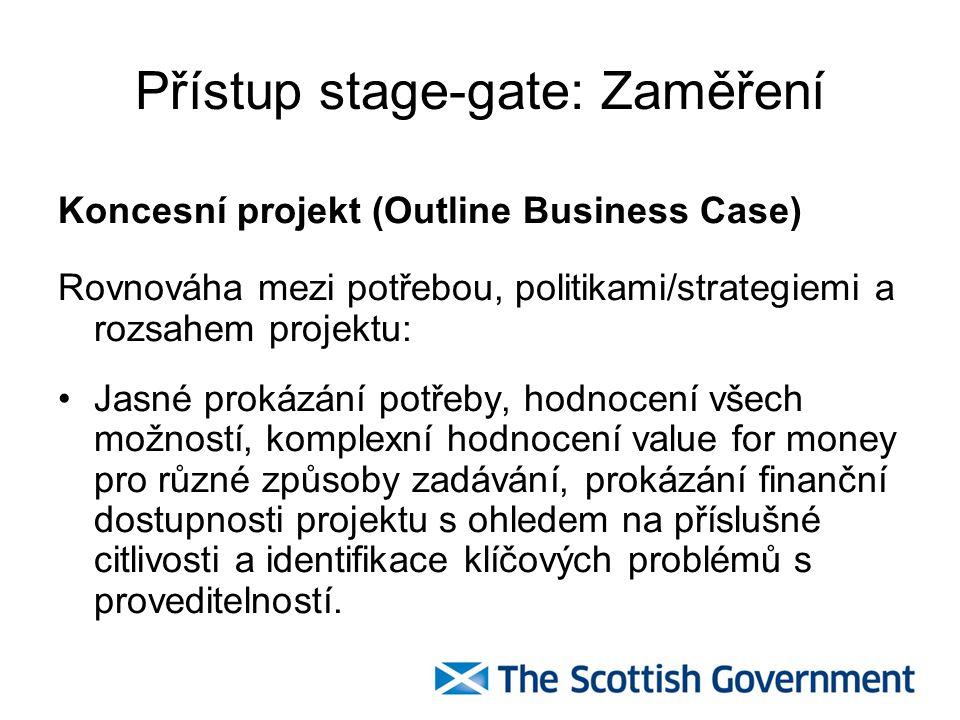 Přístup stage-gate : Zaměření Brána 1 – fáze předcházející oznámení v Úředním věstníku EU Připravenost na oslovení trhu: Řízení a správa Rozsah Zainteresované subjekty Soutěž Rizika zadávacího procesu Hodnocení value for money (hodnoty za peníze)