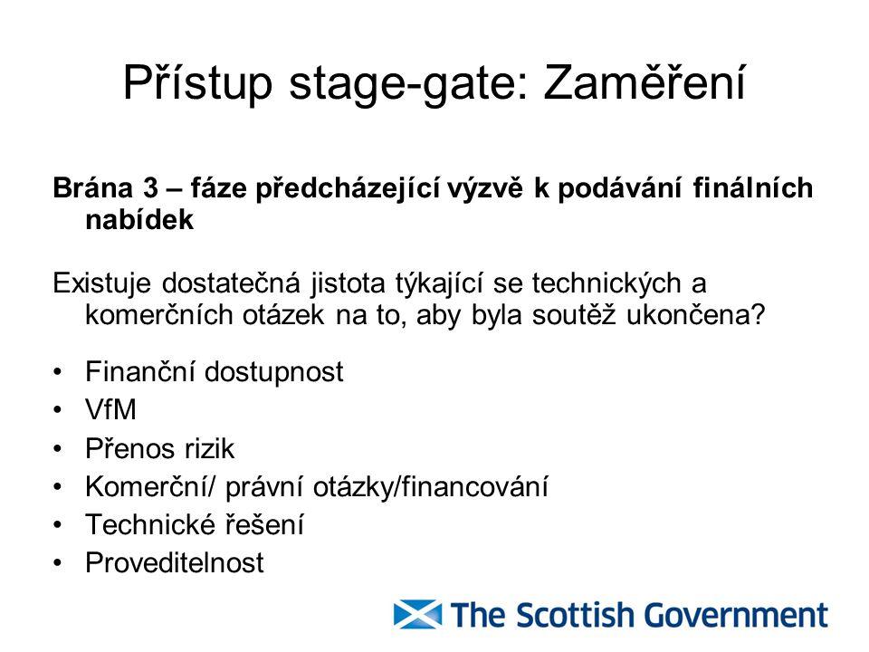 Přístup stage-gate: Zaměření Brána 4 – Fáze předcházející výběru preferovaného uchazeče Zajištění, že projekty mají minimální příležitosti k navyšování původní ceny (tzv.