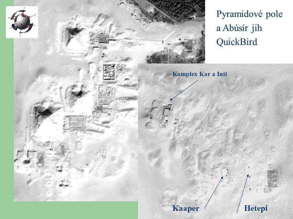 Pyramidové pole a Abúsír jih QuickBird Komplex Kar a Inti KaaperHetepi