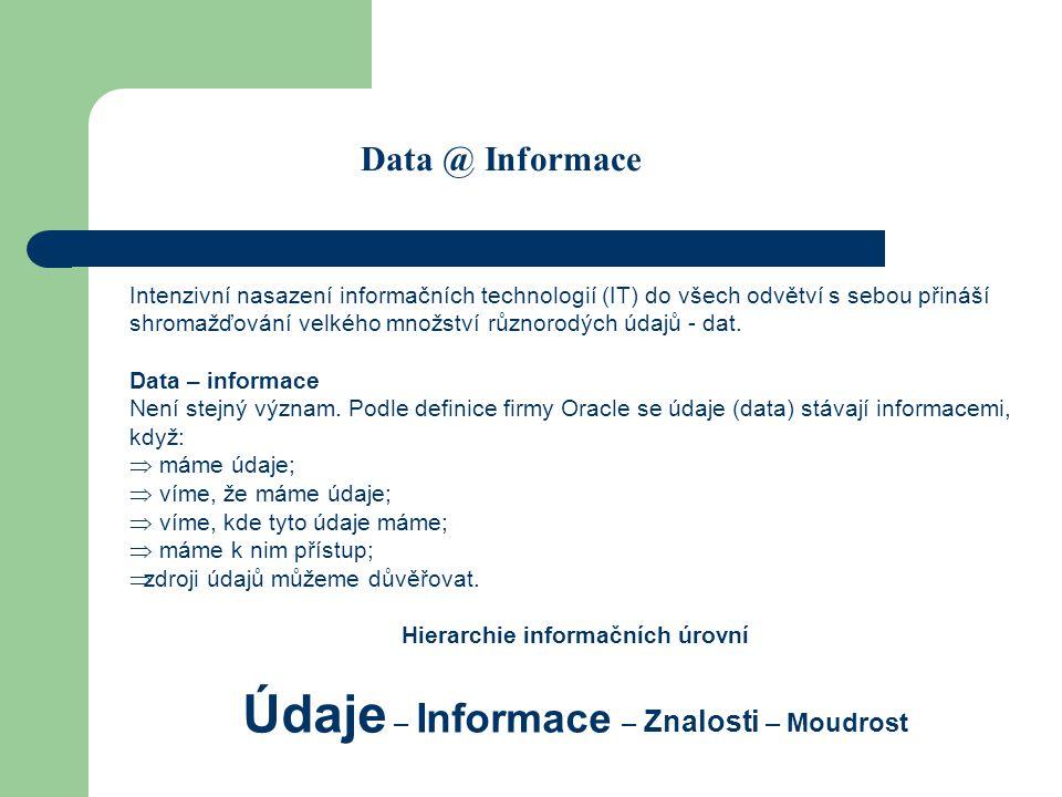 Data @ Informace Intenzivní nasazení informačních technologií (IT) do všech odvětví s sebou přináší shromažďování velkého množství různorodých údajů - dat.
