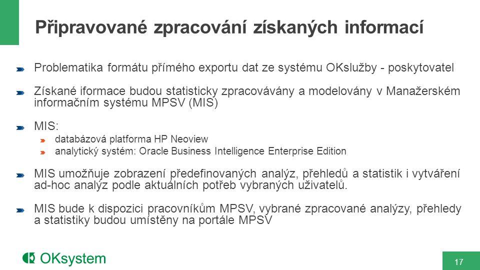Problematika formátu přímého exportu dat ze systému OKslužby - poskytovatel Získané iformace budou statisticky zpracovávány a modelovány v Manažerském informačním systému MPSV (MIS) MIS: databázová platforma HP Neoview analytický systém: Oracle Business Intelligence Enterprise Edition MIS umožňuje zobrazení předefinovaných analýz, přehledů a statistik i vytváření ad-hoc analýz podle aktuálních potřeb vybraných uživatelů.