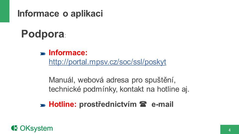 Informace: http://portal.mpsv.cz/soc/ssl/poskyt Manuál, webová adresa pro spuštění, technické podmínky, kontakt na hotline aj.