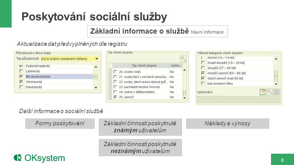 Poskytování sociální služby 8 Základní informace o službě hlavní informace Aktualizace dat předvyplněných dle registru Formy poskytování Náklady a výnosyZákladní činnosti poskytnuté známým uživatelům Základní činnosti poskytnuté neznámým uživatelům Další informace o sociální službě