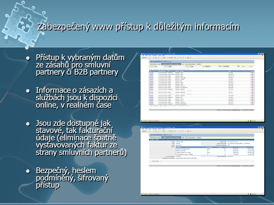Zabezpečený www přístup k důležitým informacím Přístup k vybraným datům ze zásahů pro smluvní partnery či B2B partnery Informace o zásazích a službách jsou k dispozici online, v realném čase Jsou zde dostupné jak stavové, tak fakturační údaje (eliminace špatně vystavovaných faktur ze strany smluvních partnerů) Bezpečný, heslem podmíněný, šifrovaný přístup Přístup k vybraným datům ze zásahů pro smluvní partnery či B2B partnery Informace o zásazích a službách jsou k dispozici online, v realném čase Jsou zde dostupné jak stavové, tak fakturační údaje (eliminace špatně vystavovaných faktur ze strany smluvních partnerů) Bezpečný, heslem podmíněný, šifrovaný přístup