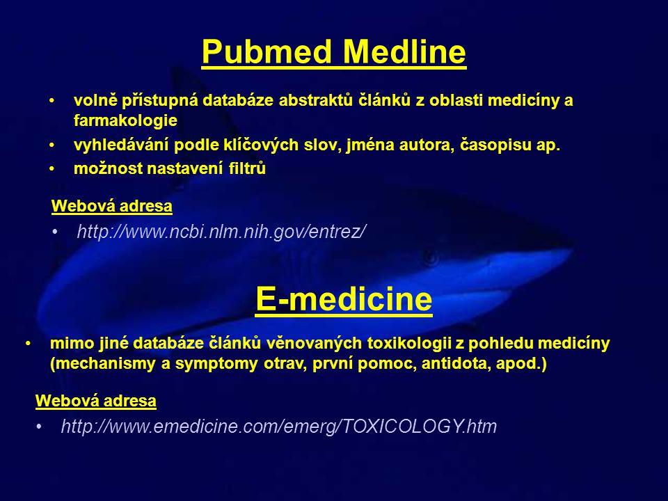 Pubmed Medline volně přístupná databáze abstraktů článků z oblasti medicíny a farmakologie vyhledávání podle klíčových slov, jména autora, časopisu ap