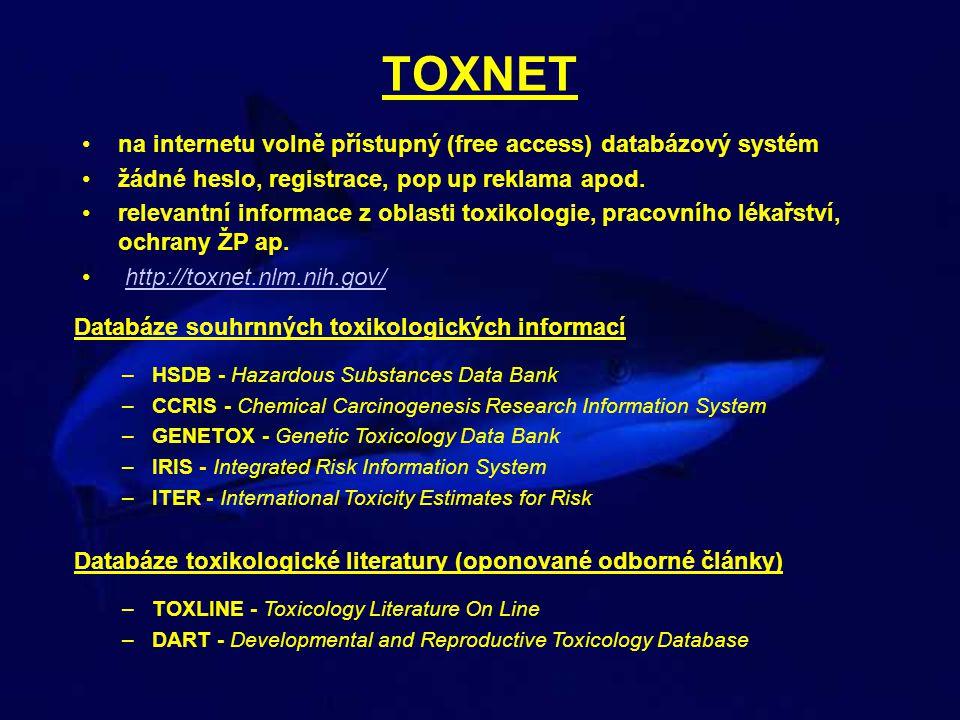 TOXNET Slovník –ChemIDplus – slovník obsahující 370 000 látek systematické vzorce CAS numbers souhrny toxikologických charakteristik synonyma stručný popis původu a využití fyzikální a chemické vlastnosti odkazy na zmínky v ostatních databázích Databáze vypouštěných chemických látek –TRI - Toxic Release Inventory Profesionální a neprofesionální expozice –HAZ - MAP - databáze zaměřená na profesionální expozice –Household Products – databáze zaměřená na chemikálie v domácnosti