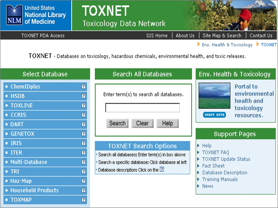 """Toxnet - vyhledávání CAS registry number –unikátní devítimístné číslo přiřazené látce na """"Chemical abstract service (CAS) – sekce """"American Chemical society –jednoznačná identifikace chemikálie (nemá chemický význam) – http://www.cas.org/ - není volný přístuphttp://www.cas.org/ Chemický název látky –nedokončený – na konci (*) –logické operátory AND, OR, NOT – musí být v závorce –vyhledávání frází"""