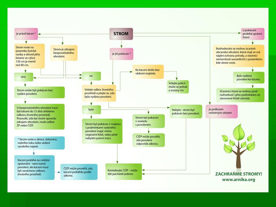 Orgány ochrany přírody 1.Obecní úřad -Vydává povolení ke kácení -Informuje občanská sdružení s podanou žádostí 2.Pověřený obecní úřad -Vydává povolení ke kácení -Registrují VKP a vyhlašují památné stromy krom chráněn.úz.
