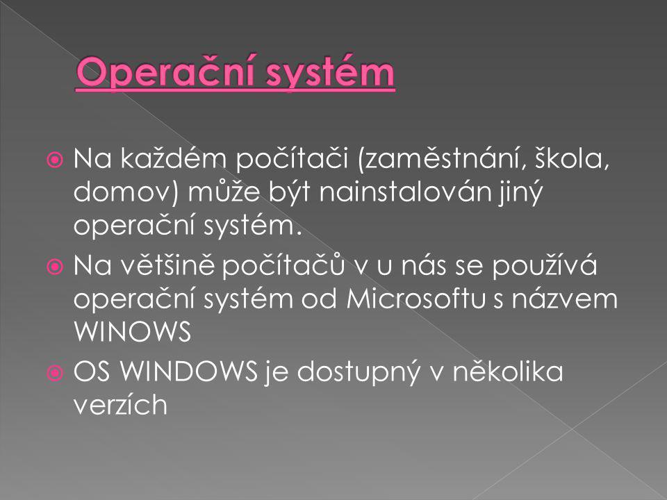  Na každém počítači (zaměstnání, škola, domov) může být nainstalován jiný operační systém.