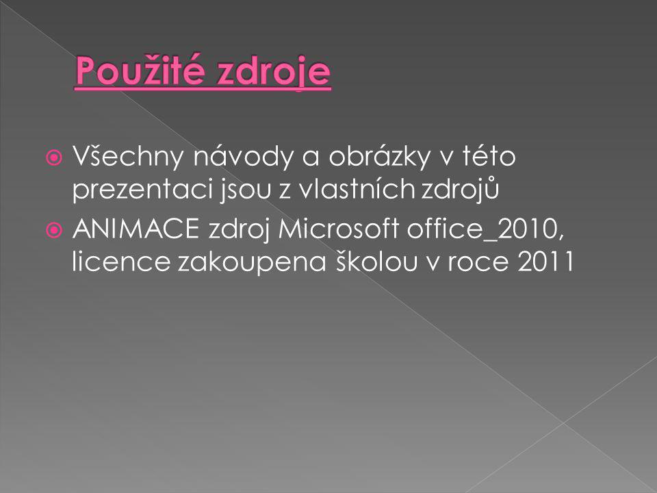  Všechny návody a obrázky v této prezentaci jsou z vlastních zdrojů  ANIMACE zdroj Microsoft office_2010, licence zakoupena školou v roce 2011