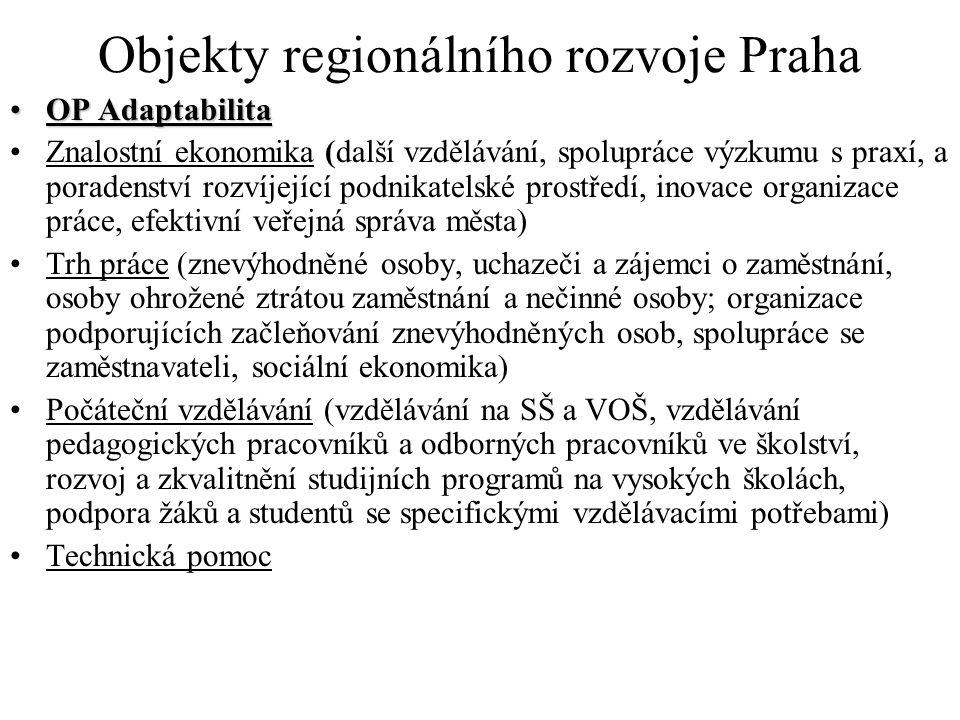 Objekty regionálního rozvoje Praha OP AdaptabilitaOP Adaptabilita Znalostní ekonomika (další vzdělávání, spolupráce výzkumu s praxí, a poradenství rozvíjející podnikatelské prostředí, inovace organizace práce, efektivní veřejná správa města) Trh práce (znevýhodněné osoby, uchazeči a zájemci o zaměstnání, osoby ohrožené ztrátou zaměstnání a nečinné osoby; organizace podporujících začleňování znevýhodněných osob, spolupráce se zaměstnavateli, sociální ekonomika) Počáteční vzdělávání (vzdělávání na SŠ a VOŠ, vzdělávání pedagogických pracovníků a odborných pracovníků ve školství, rozvoj a zkvalitnění studijních programů na vysokých školách, podpora žáků a studentů se specifickými vzdělávacími potřebami) Technická pomoc