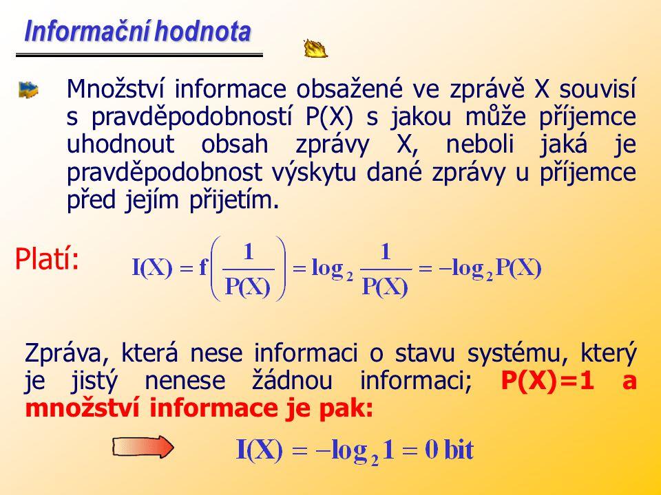 Vyjádření informační hodnoty je velmi obtížné. Každý objekt může být v každém časovém okamžiku v jednom z mnoha možných stavů. Vyjádření informační ho