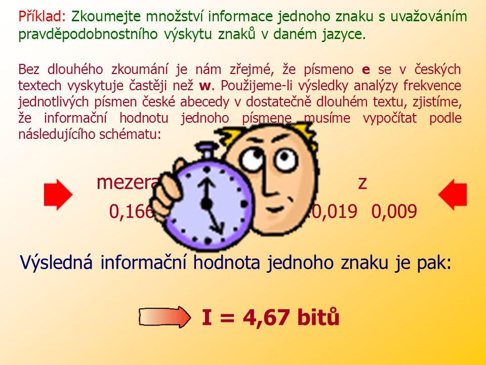 Příklad: Česká abeceda obsahuje 42 znaků (včetně diakritiky). Zamyslete se nad množstvím informace jednoho znaku!!! Za předpokladu rovnoměrného výskyt