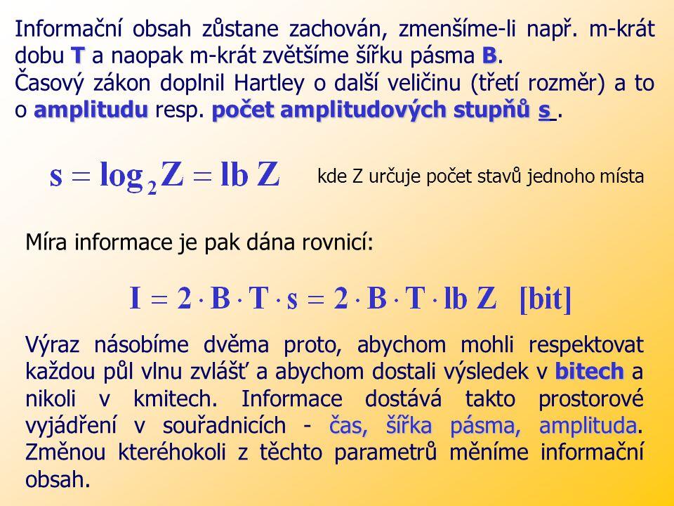B. T = konst [c] B KdeB - šířka pásma [Hz] T T - doba přenosu [s] B [c / s]. T [s] = konst [c] Nyquistova-Kupfmůllerova časového zákona Míru informace