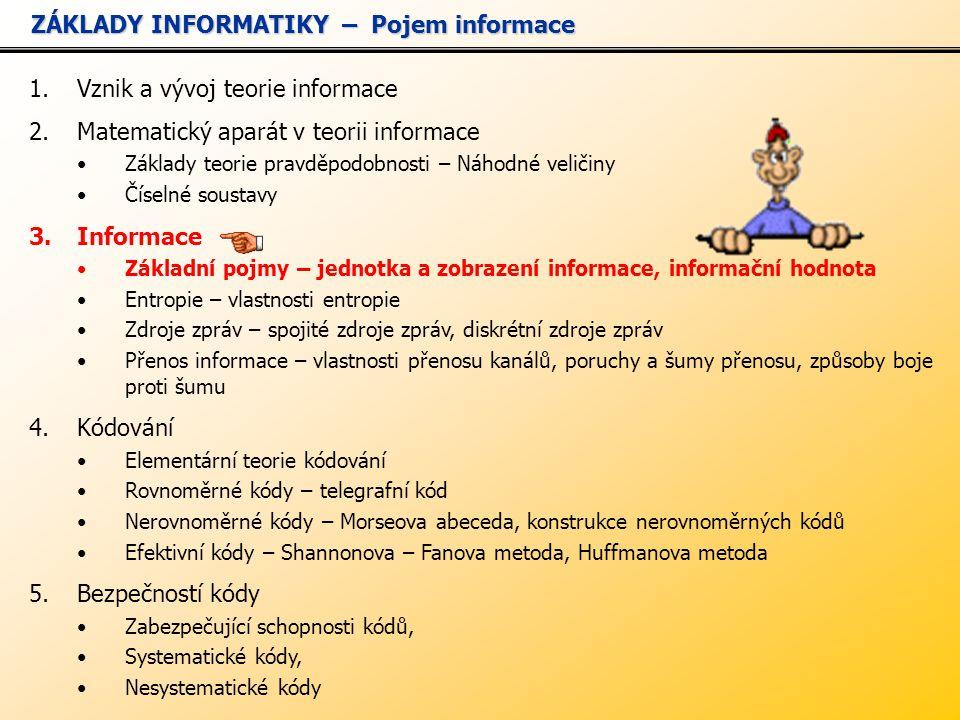 1.Vznik a vývoj teorie informace 2.Matematický aparát v teorii informace Základy teorie pravděpodobnosti – Náhodné veličiny Číselné soustavy 3.Informace Základní pojmy – jednotka a zobrazení informace, informační hodnota Entropie – vlastnosti entropie Zdroje zpráv – spojité zdroje zpráv, diskrétní zdroje zpráv Přenos informace – vlastnosti přenosu kanálů, poruchy a šumy přenosu, způsoby boje proti šumu 4.Kódování Elementární teorie kódování Rovnoměrné kódy – telegrafní kód Nerovnoměrné kódy – Morseova abeceda, konstrukce nerovnoměrných kódů Efektivní kódy – Shannonova – Fanova metoda, Huffmanova metoda 5.Bezpečností kódy Zabezpečující schopnosti kódů, Systematické kódy, Nesystematické kódy ZÁKLADY INFORMATIKY – Pojem informace ZÁKLADY INFORMATIKY – Pojem informace