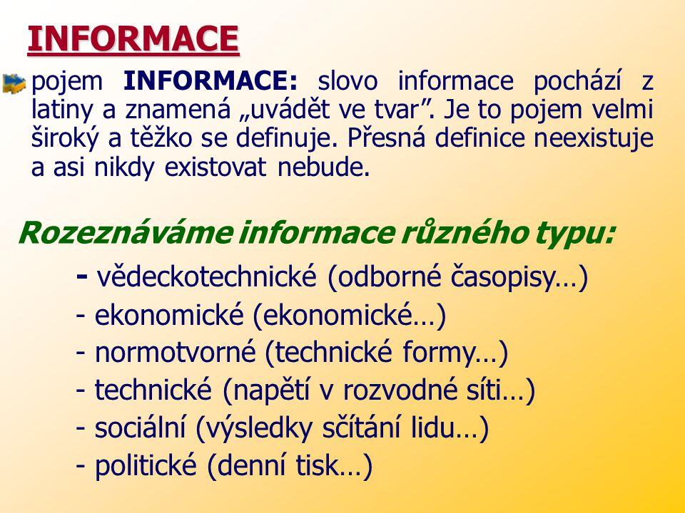 """INFORMACE INFORMACE pojem INFORMACE: slovo informace pochází z latiny a znamená """"uvádět ve tvar ."""