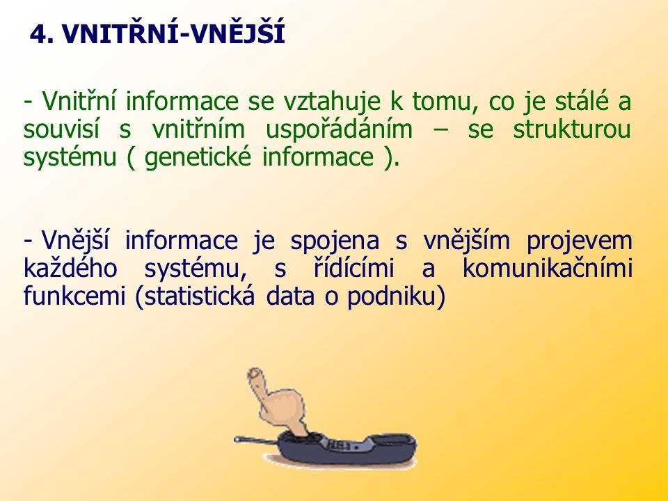 Informace na nás útočí různými FORMAMI: - verbálními (telefonní sdělení) - textovými (osobní formulář) - numerickými (účet za plyn) - obrazovými (televizní zpravodajství) V praxi existují různé DRUHY informací: (literatura je třídí do protikladných dvojic) 1.