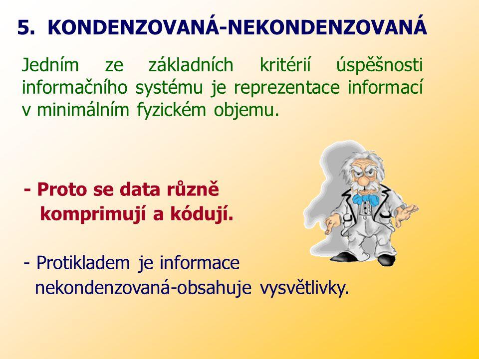 Jedním ze základních kritérií úspěšnosti informačního systému je reprezentace informací v minimálním fyzickém objemu.