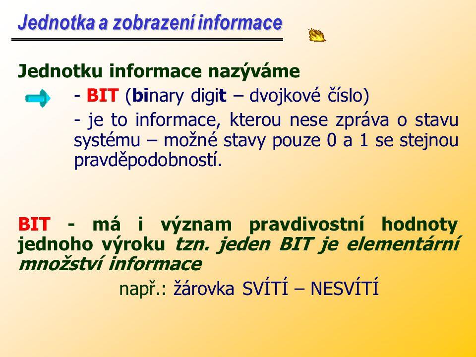Jednotku informace nazýváme - BIT (binary digit – dvojkové číslo) - je to informace, kterou nese zpráva o stavu systému – možné stavy pouze 0 a 1 se stejnou pravděpodobností.