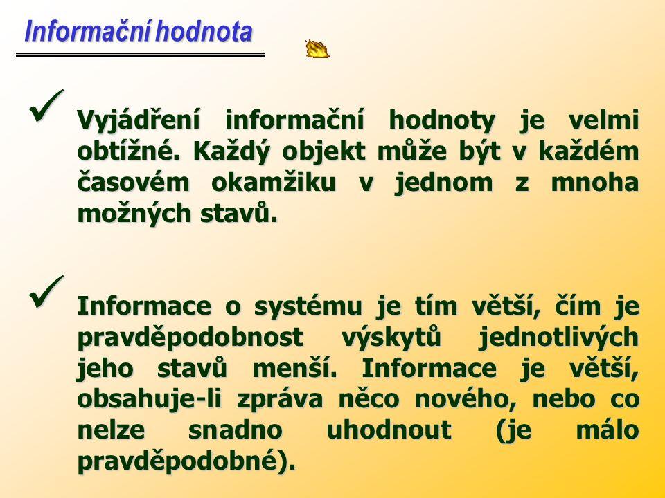 Jednotku informace nazýváme - BIT (binary digit – dvojkové číslo) - je to informace, kterou nese zpráva o stavu systému – možné stavy pouze 0 a 1 se s