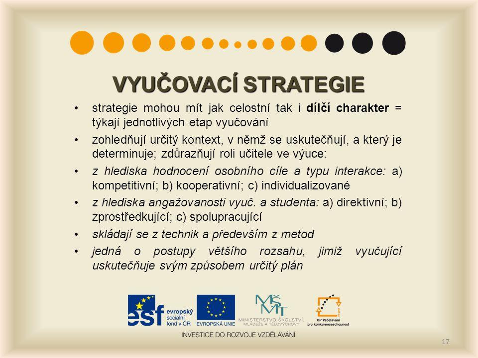 VYUČOVACÍ STRATEGIE strategie mohou mít jak celostní tak i dílčí charakter = týkají jednotlivých etap vyučování zohledňují určitý kontext, v němž se u