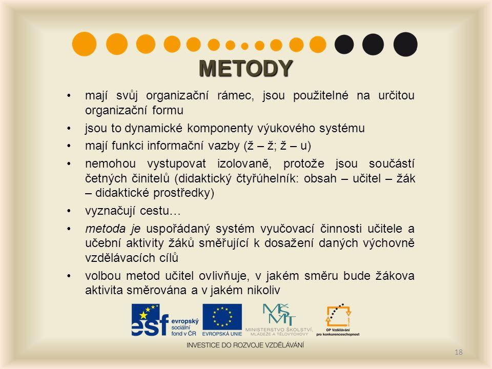 METODY mají svůj organizační rámec, jsou použitelné na určitou organizační formu jsou to dynamické komponenty výukového systému mají funkci informační