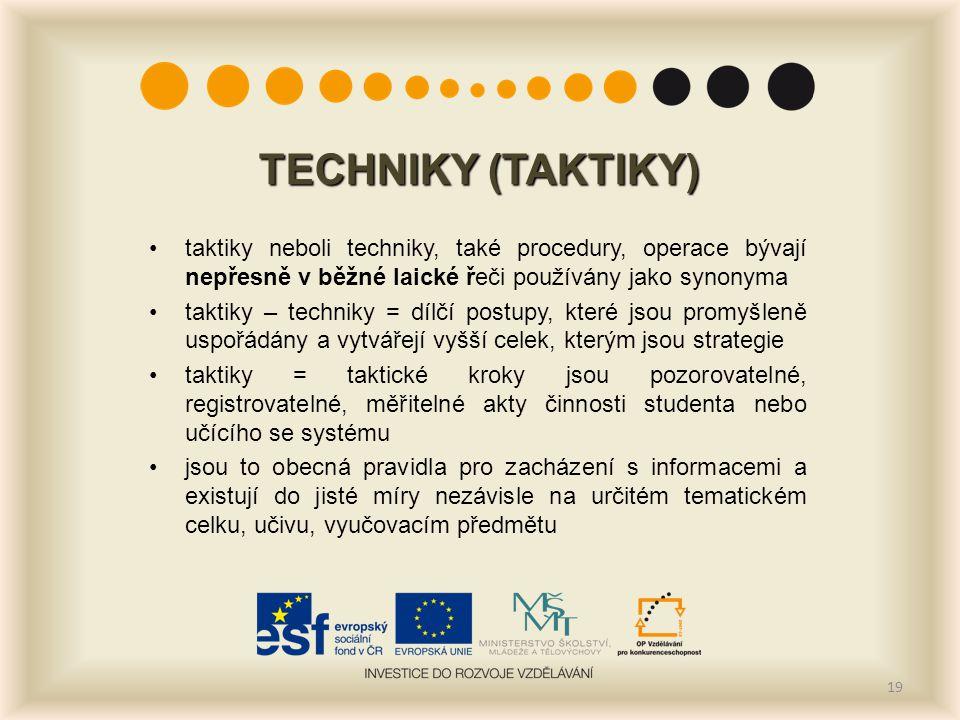 TECHNIKY (TAKTIKY) taktiky neboli techniky, také procedury, operace bývají nepřesně v běžné laické řeči používány jako synonyma taktiky – techniky = d