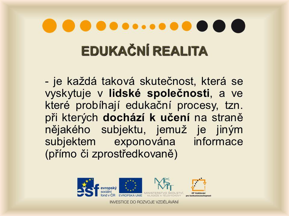 EDUKAČNÍ REALITA - je každá taková skutečnost, která se vyskytuje v lidské společnosti, a ve které probíhají edukační procesy, tzn. při kterých docház
