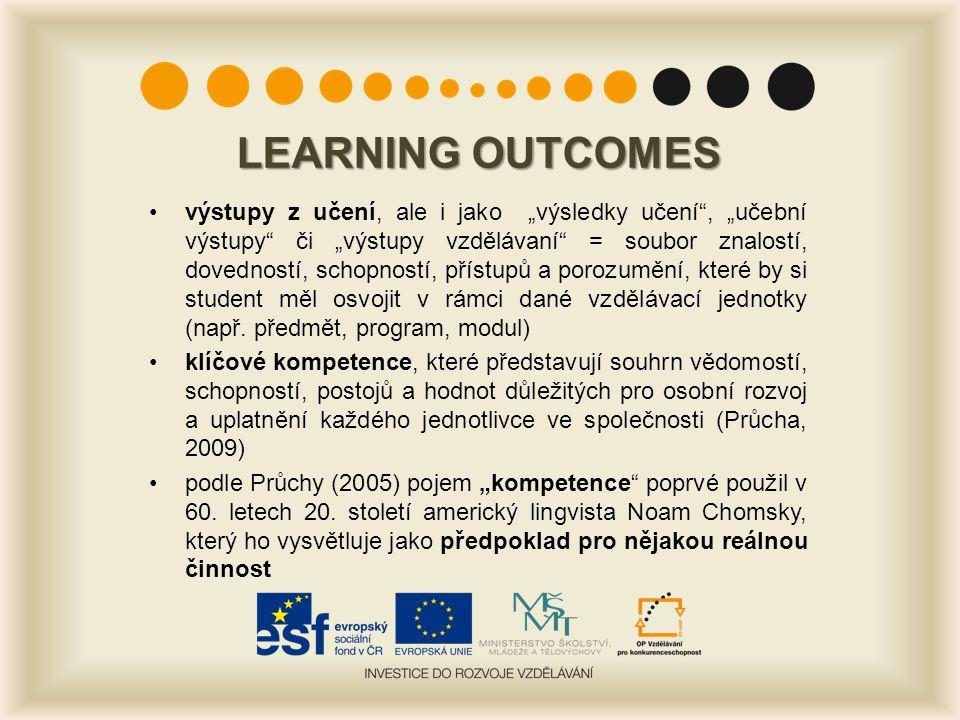 """LEARNING OUTCOMES výstupy z učení, ale i jako """"výsledky učení"""", """"učební výstupy"""" či """"výstupy vzdělávaní"""" = soubor znalostí, dovedností, schopností, př"""