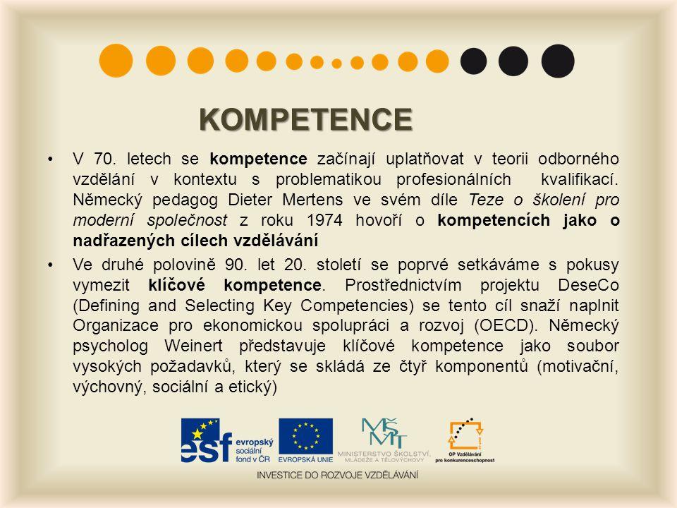 KOMPETENCE V 70. letech se kompetence začínají uplatňovat v teorii odborného vzdělání v kontextu s problematikou profesionálních kvalifikací. Německý