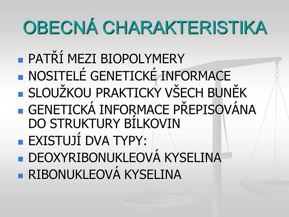 OBECNÁ CHARAKTERISTIKA PATŘÍ MEZI BIOPOLYMERY PATŘÍ MEZI BIOPOLYMERY NOSITELÉ GENETICKÉ INFORMACE NOSITELÉ GENETICKÉ INFORMACE SLOUŽKOU PRAKTICKY VŠEC