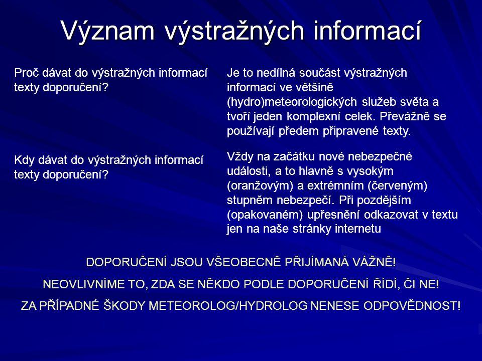 Význam výstražných informací Proč dávat do výstražných informací texty doporučení? Je to nedílná součást výstražných informací ve většině (hydro)meteo