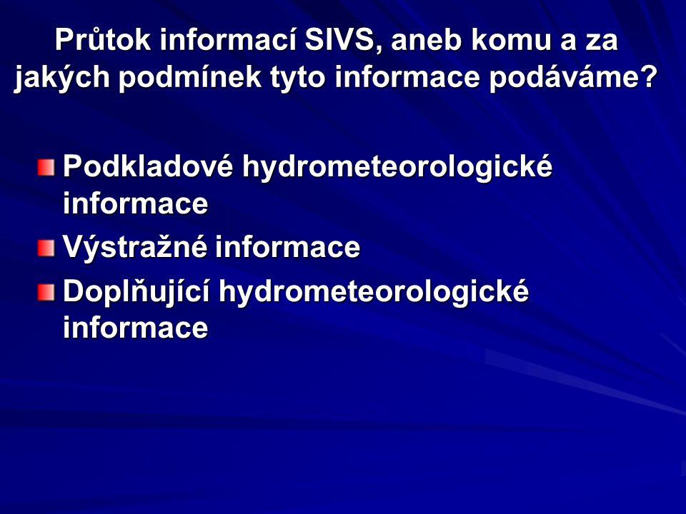 Průtok informací SIVS, aneb komu a za jakých podmínek tyto informace podáváme? Podkladové hydrometeorologické informace Výstražné informace Doplňující