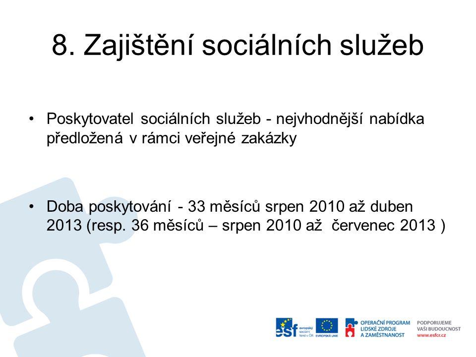 8. Zajištění sociálních služeb Poskytovatel sociálních služeb - nejvhodnější nabídka předložená v rámci veřejné zakázky Doba poskytování - 33 měsíců s