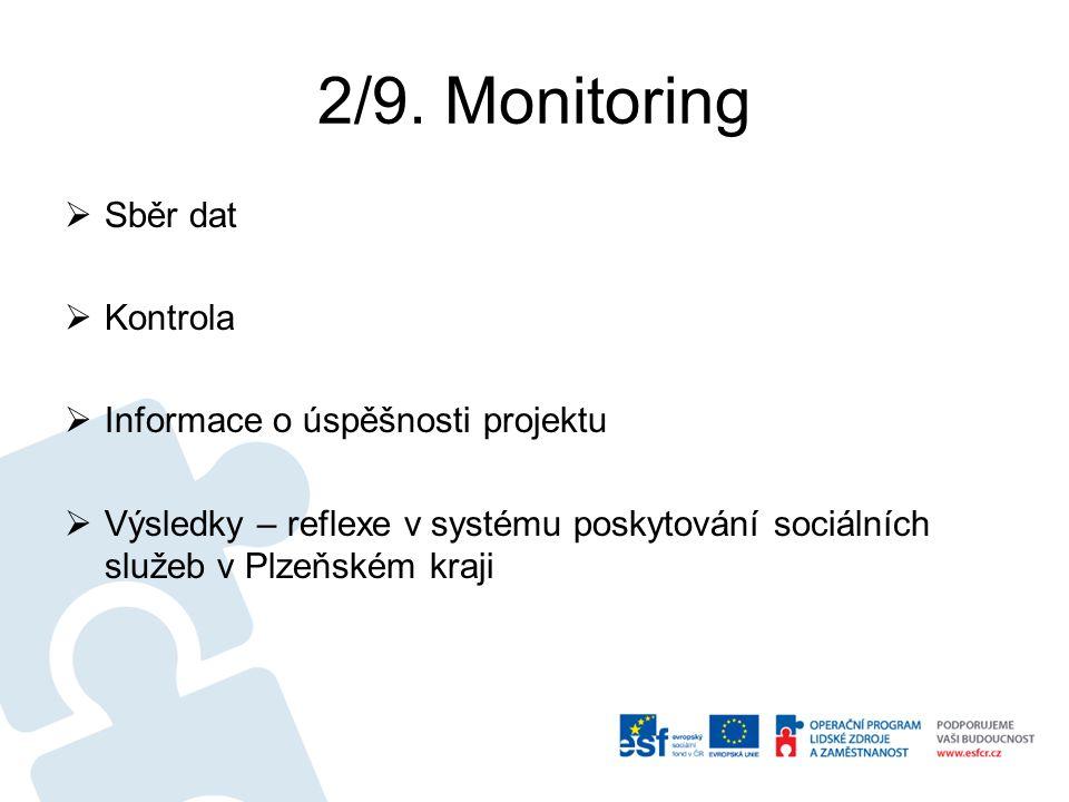 2/9. Monitoring  Sběr dat  Kontrola  Informace o úspěšnosti projektu  Výsledky – reflexe v systému poskytování sociálních služeb v Plzeňském kraji