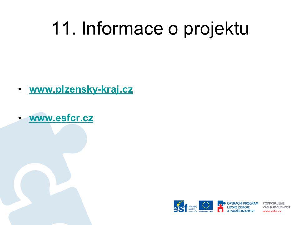 11. Informace o projektu www.plzensky-kraj.cz www.esfcr.cz
