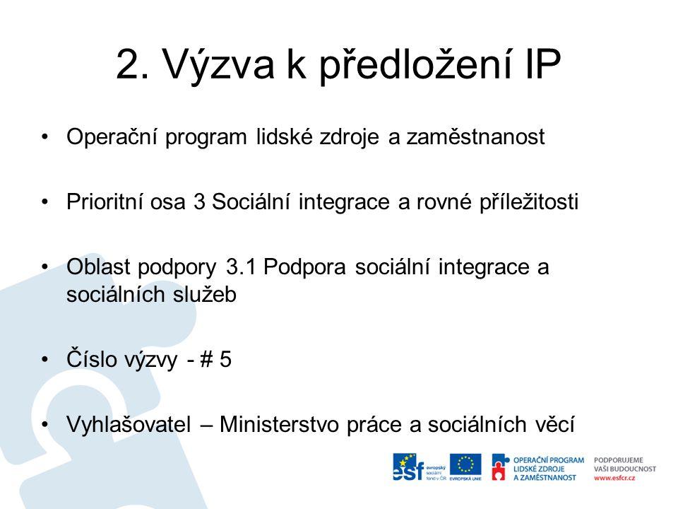 2. Výzva k předložení IP Operační program lidské zdroje a zaměstnanost Prioritní osa 3 Sociální integrace a rovné příležitosti Oblast podpory 3.1 Podp