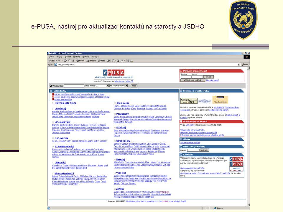 e-PUSA, nástroj pro aktualizaci kontaktů na starosty a JSDHO