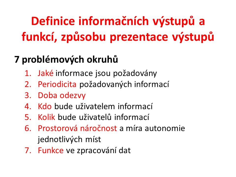 Definice informačních výstupů a funkcí, způsobu prezentace výstupů 7 problémových okruhů 1.Jaké informace jsou požadovány 2.Periodicita požadovaných informací 3.Doba odezvy 4.Kdo bude uživatelem informací 5.Kolik bude uživatelů informací 6.Prostorová náročnost a míra autonomie jednotlivých míst 7.Funkce ve zpracování dat