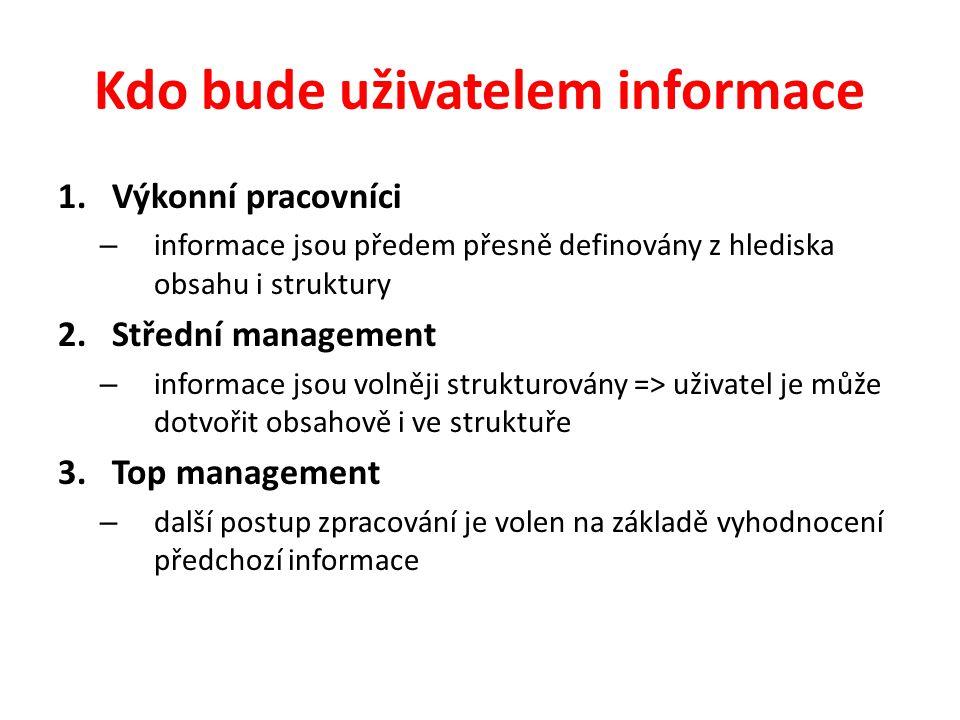 Kdo bude uživatelem informace 1.Výkonní pracovníci – informace jsou předem přesně definovány z hlediska obsahu i struktury 2.Střední management – info