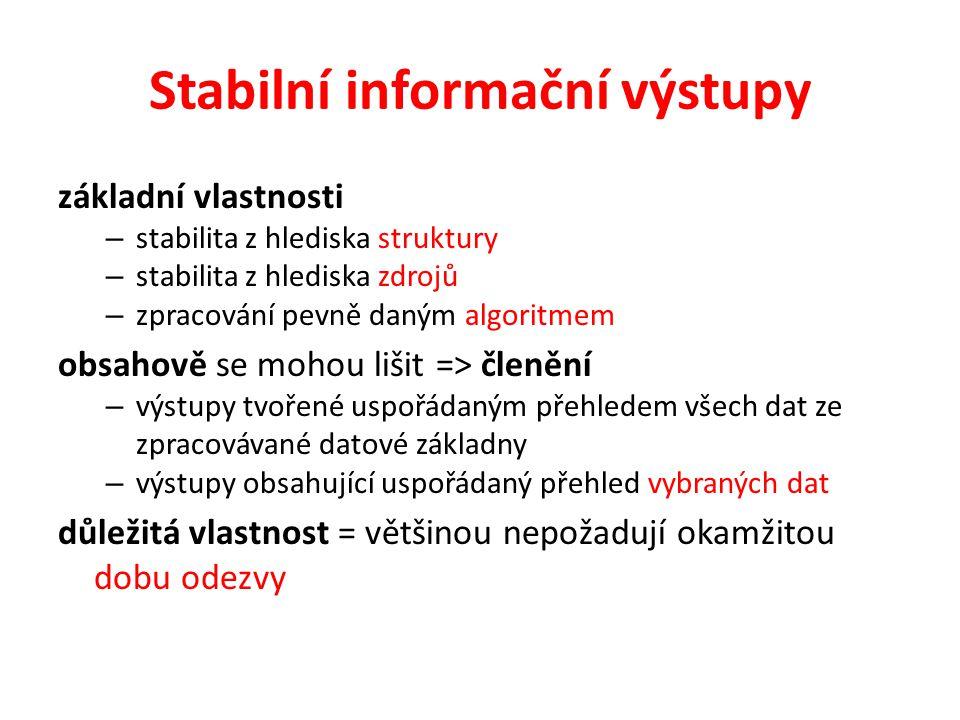 Stabilní informační výstupy základní vlastnosti – stabilita z hlediska struktury – stabilita z hlediska zdrojů – zpracování pevně daným algoritmem obs