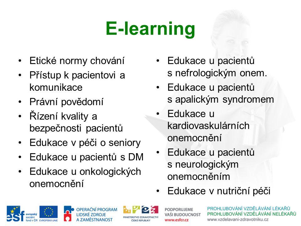 Etické normy chování Přístup k pacientovi a komunikace Právní povědomí Řízení kvality a bezpečnosti pacientů Edukace v péči o seniory Edukace u pacientů s DM Edukace u onkologických onemocnění E-learning Edukace u pacientů s nefrologickým onem.