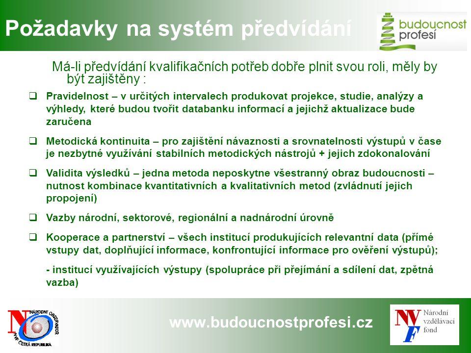 www.budoucnostprofesi.cz Požadavky na systém předvídání Má-li předvídání kvalifikačních potřeb dobře plnit svou roli, měly by být zajištěny :  Pravid