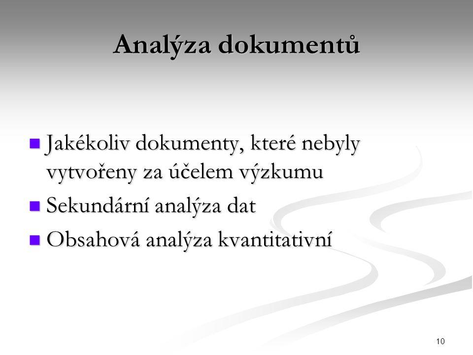 10 Analýza dokumentů Jakékoliv dokumenty, které nebyly vytvořeny za účelem výzkumu Jakékoliv dokumenty, které nebyly vytvořeny za účelem výzkumu Sekundární analýza dat Sekundární analýza dat Obsahová analýza kvantitativní Obsahová analýza kvantitativní