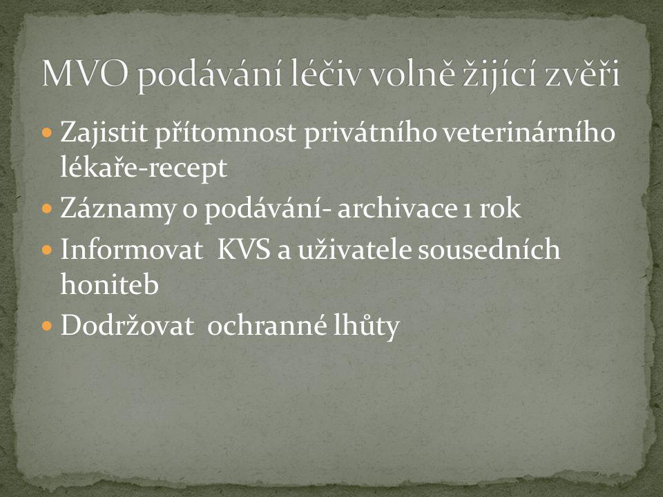 Zajistit přítomnost privátního veterinárního lékaře-recept Záznamy o podávání- archivace 1 rok Informovat KVS a uživatele sousedních honiteb Dodržovat ochranné lhůty