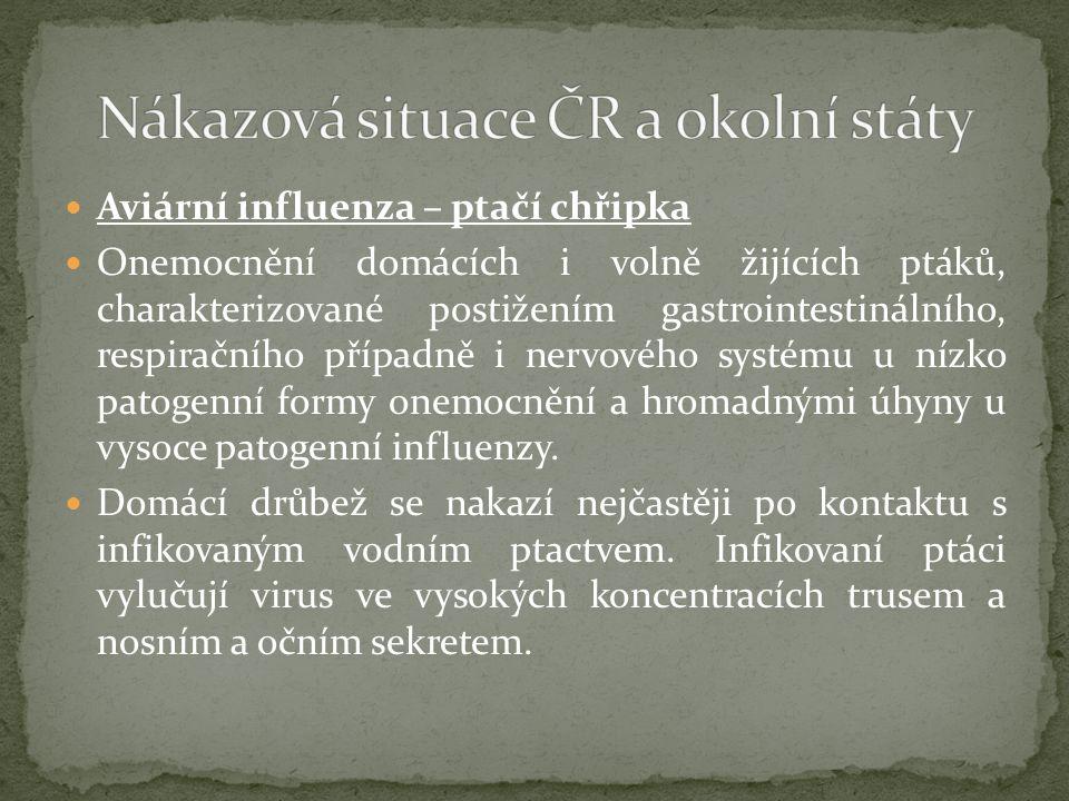 Aviární influenza – ptačí chřipka Onemocnění domácích i volně žijících ptáků, charakterizované postižením gastrointestinálního, respiračního případně i nervového systému u nízko patogenní formy onemocnění a hromadnými úhyny u vysoce patogenní influenzy.