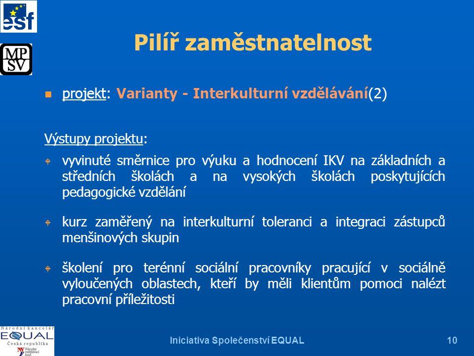 Iniciativa Společenství EQUAL10 Pilíř zaměstnatelnost n projekt: Varianty - Interkulturní vzdělávání(2) Výstupy projektu: W vyvinuté směrnice pro výuk